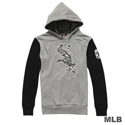 MLB-芝加哥白襪隊連帽撞色迷彩LOGO印花長袖厚T恤-麻灰(男)