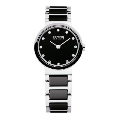 BERING 晶鑽刻度陶瓷錶系列 藍寶石鏡面 黑x銀25mm