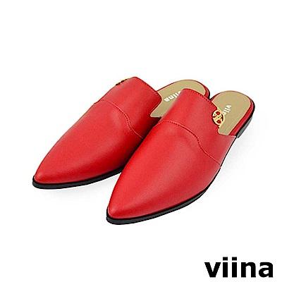 viina-質感尖頭平底穆勒鞋-紅色
