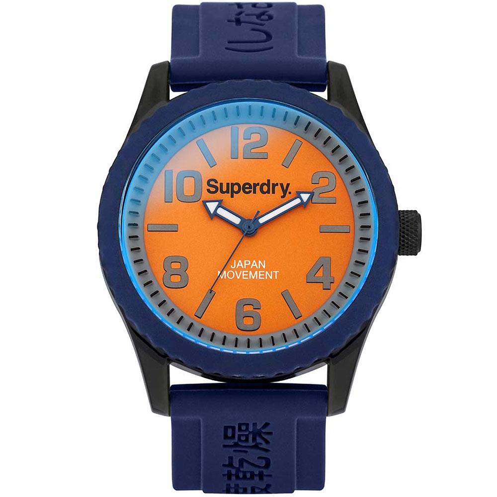 Superdry極度乾燥Tokyo休閒潮流時尚手錶-橘X藍/48mm