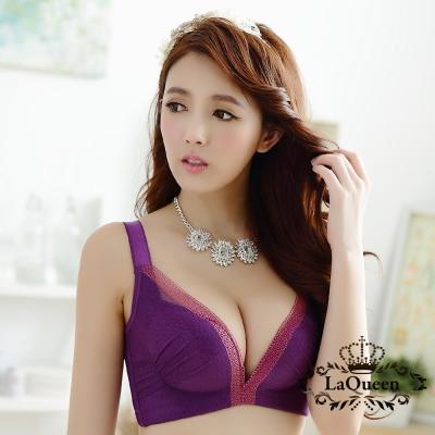 內衣  宮廷風膠原蛋白內襯無鋼圈成套內衣-紫 La Queen