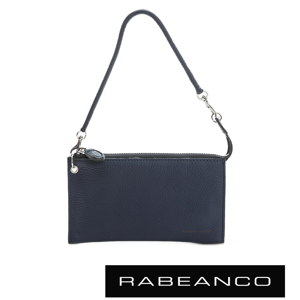 RABEANCO 頂級荔枝紋牛皮手拿包長夾 -暗灰藍