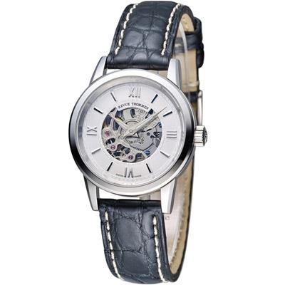 梭曼 Revue Thommen 浮華世紀鏤空機械腕錶-黑皮/28mm