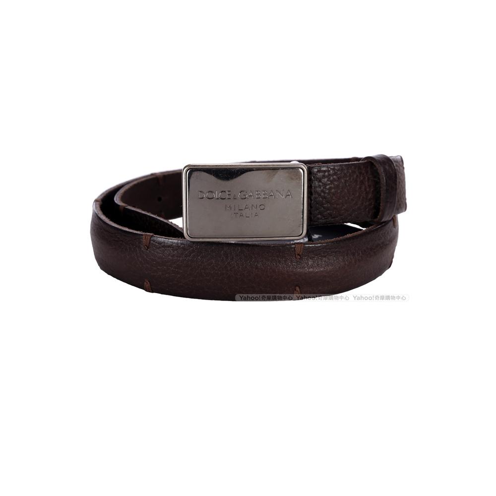 DOLCE & GABBANA 方型金屬車縫設計皮革腰帶(雪茄色)