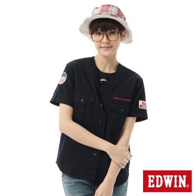 EDWIN 棒球裝概念襯衫-女-丈青