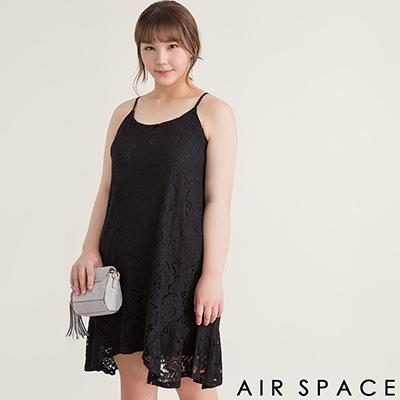 AIR SPACE PLUS 細肩帶蕾絲不對稱裙襬洋裝(黑)