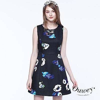 OUWEY歐薇 印象派花朵背心洋裝(黑)