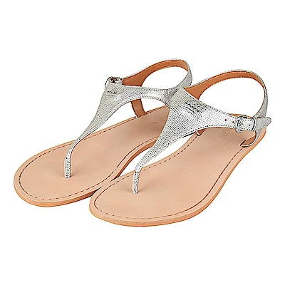 COACH經典金屬馬車LOGO牛皮平底夾腳涼鞋(銀)