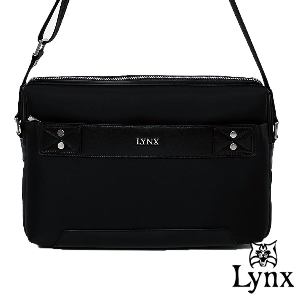 Lynx - 山貓紳士極簡風格橫式真皮斜側背包(大)-紳士黑