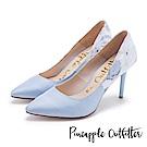 Pineapple Outfitter 高貴名伶 鞋身花卉緞布尖頭細高跟鞋-淺藍
