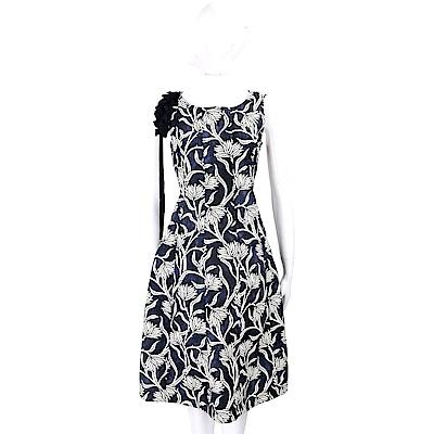 'S Max Mara 單側可拆肩花設計藍白圖騰渲染洋裝