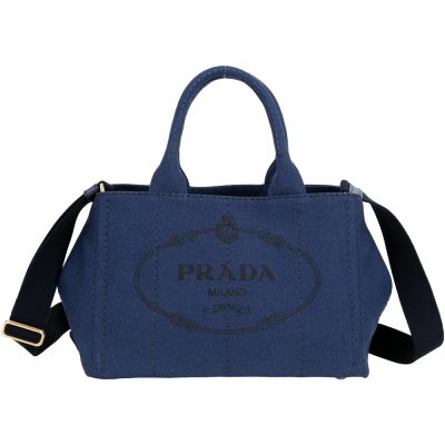 PRADA-Canvas-單寧帆布印花兩用提包-小-深藍色