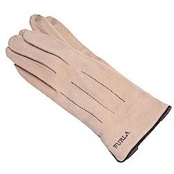 FURLA 品牌字母刺繡LOGO保暖造型可觸控手套(杏色)