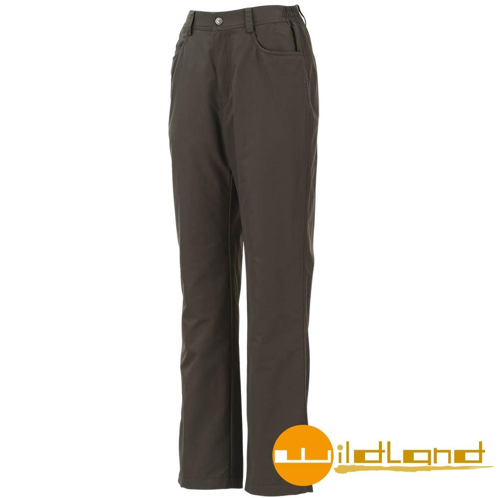 【Wildland 荒野】W2301 女 防風防潑水保暖長褲 (卡其)