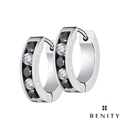 BENITY 韶光 黑白鑽款 316白鋼/西德鋼 八心八箭cz美鑽 圈型耳環