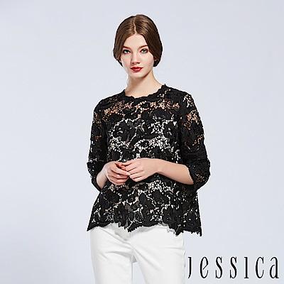 JESSICA - 滿版花朵蕾絲設計上衣(黑)