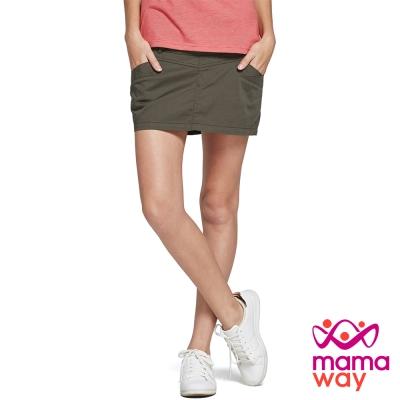 孕婦褲 褲裙 孕期水洗平織上班褲裙(共二色) Mamaway