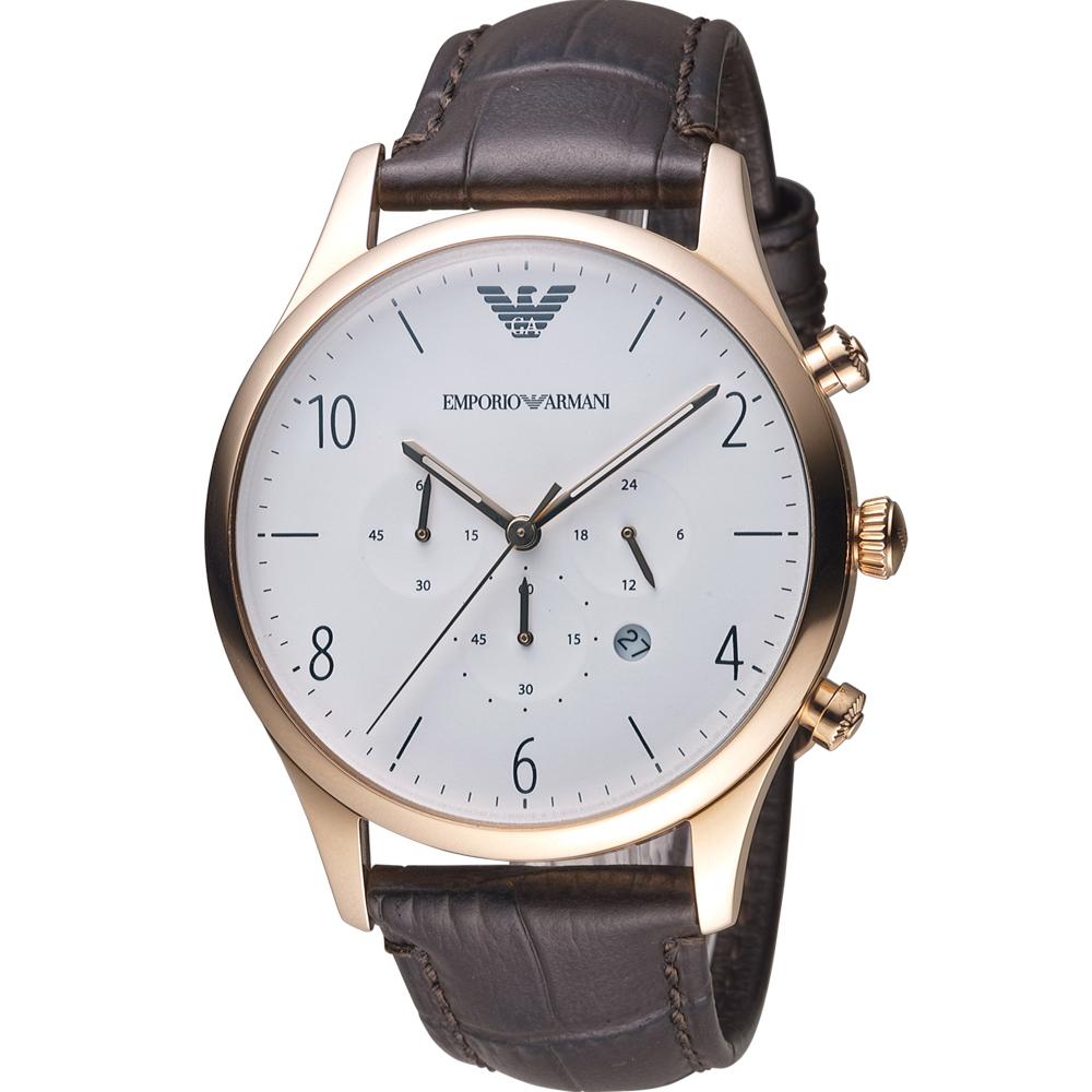 Emporio Armani Classic 復刻計時時尚腕錶-玫瑰金x白/43mm