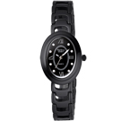 Vaness新古典優雅陶瓷時尚腕錶-黑/23mm