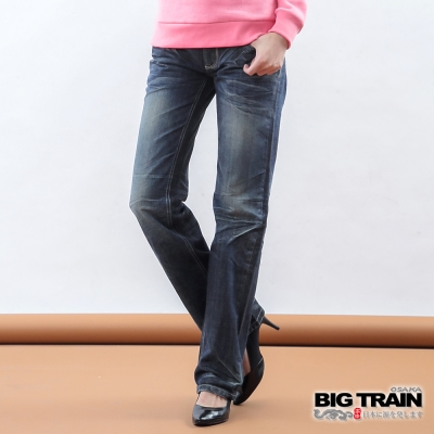 BIG TRAIN-女款 日式兔子配布垮褲-深藍