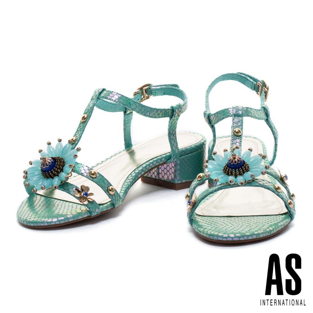 涼鞋 AS 華麗花飾鉚釘點綴T字蛇皮壓紋低跟涼鞋-綠