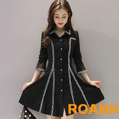 翻領單排扣長袖洋裝 (黑色)-ROANN