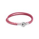 Pandora 潘朵拉 925純銀開扣式皮革皮繩多層纏繞手鍊手環 雙色桃粉