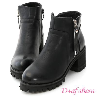 D+AF 帥氣滿載.金屬拉鍊高跟厚底短靴*黑