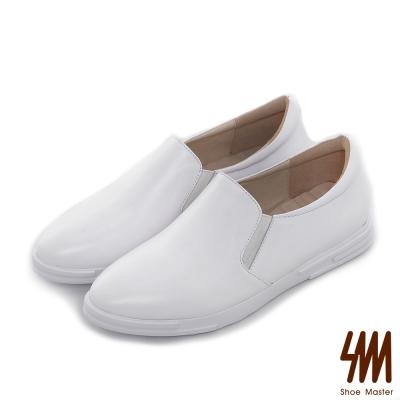 SM-全真皮系列-素面超軟休閒微尖頭厚底懶人鞋-白色