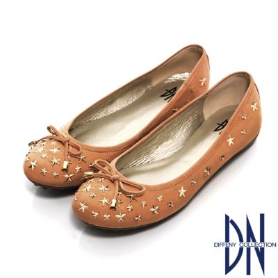 DN-甜美名媛-MIT星星鉚釘牛皮豆豆鞋-棕