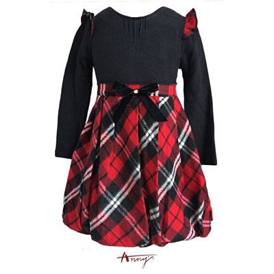 Annys甜美特殊荷葉立體袖拼接格紋洋裝*5610紅