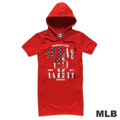 MLB-德州遊騎兵隊印花長版連帽T恤-紅(女)