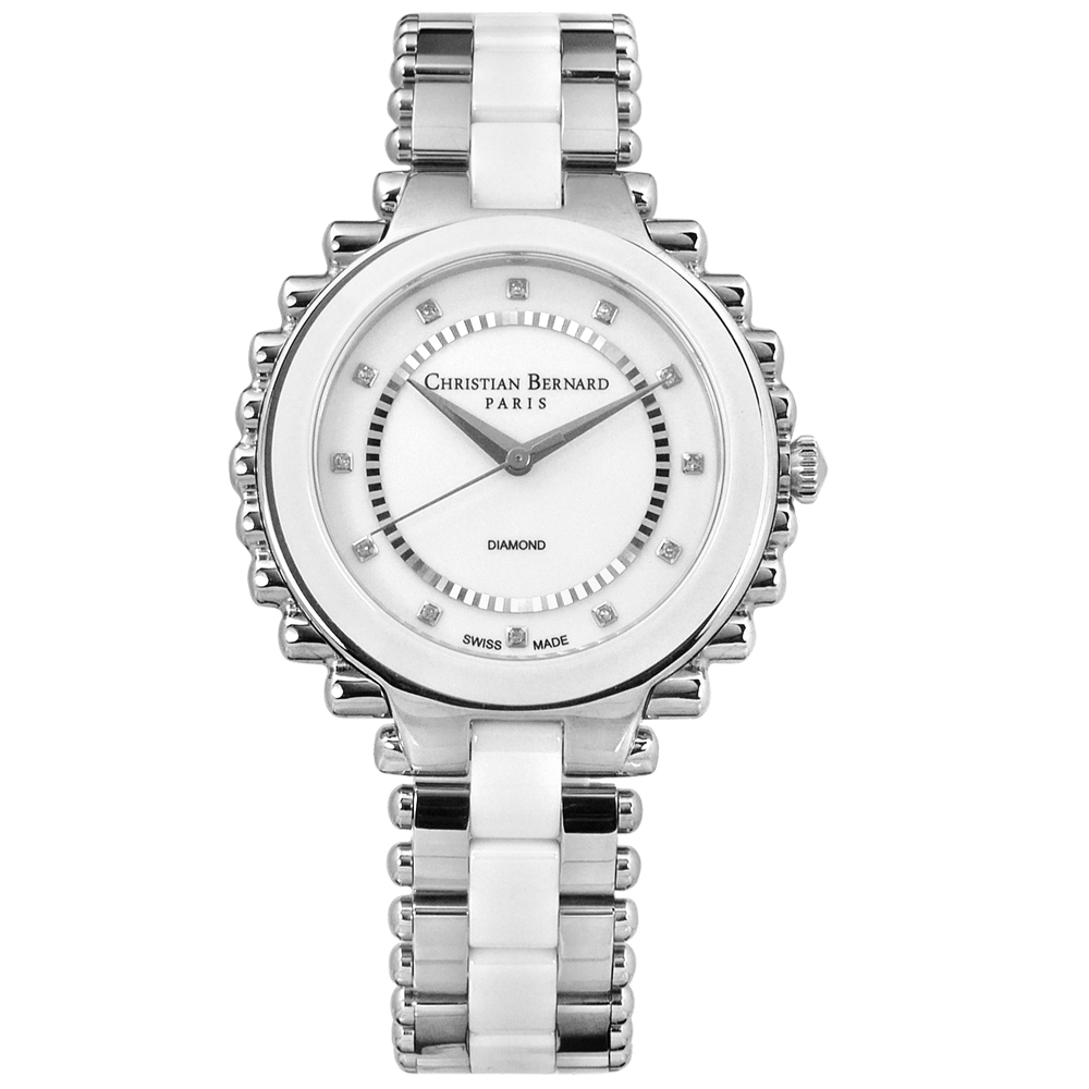 CHRISTIAN BERNARD 伯納錶 真鑽棕櫚樹陶瓷不鏽鋼手錶-銀白色/38mm