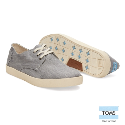 TOMS 帆布織紋休閒鞋-男款(灰)