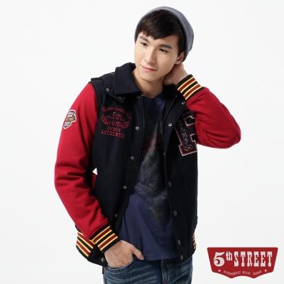 5th STREET 外套  貼布繡毛呢鋪棉棒球外套-男-紅色