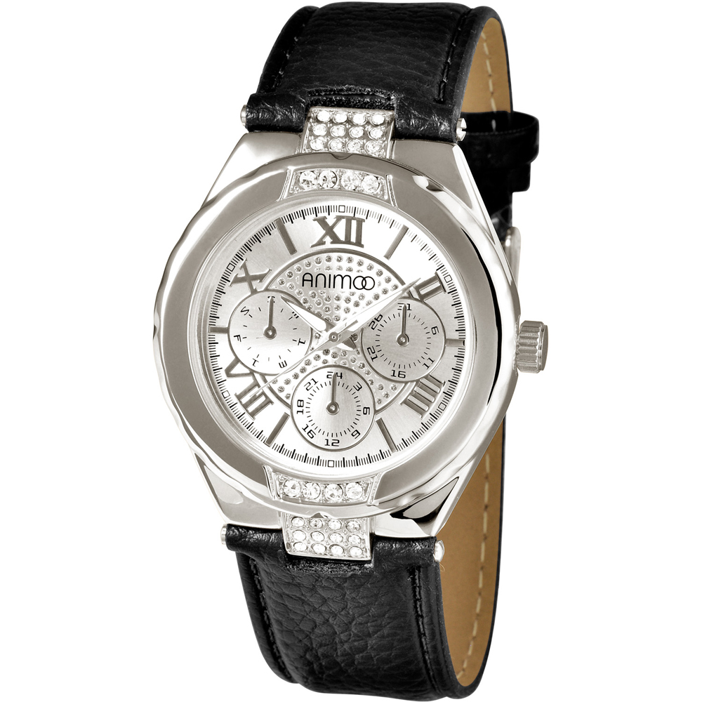 ANIMOO 經典全日曆晶鑽時尚腕錶-銀白/42mm