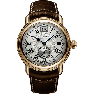 AEROWATCH Classic 大視窗小秒針腕錶-銀x玫塊金框/40mm