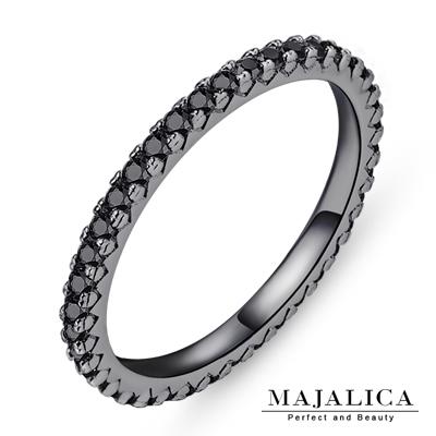 Majalica 925純銀戒指 線戒尾戒 黑金色-共10款