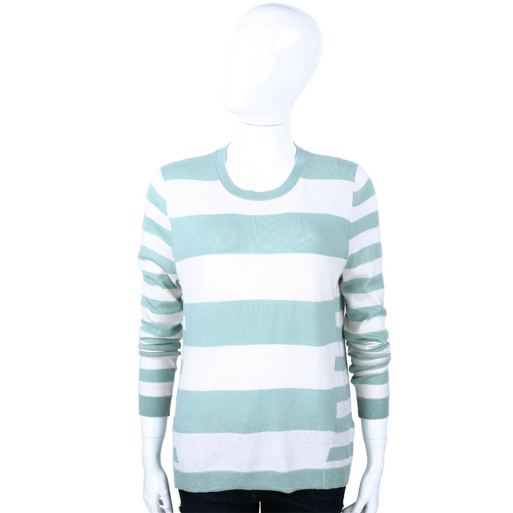 ALLUDE 水綠x米色條紋拼接喀什米爾針織上衣(40%CASHMERE)
