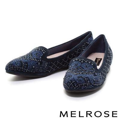 MELROSE-陶瓷晶鑽時尚奢華羊麂皮樂福平底鞋-藍