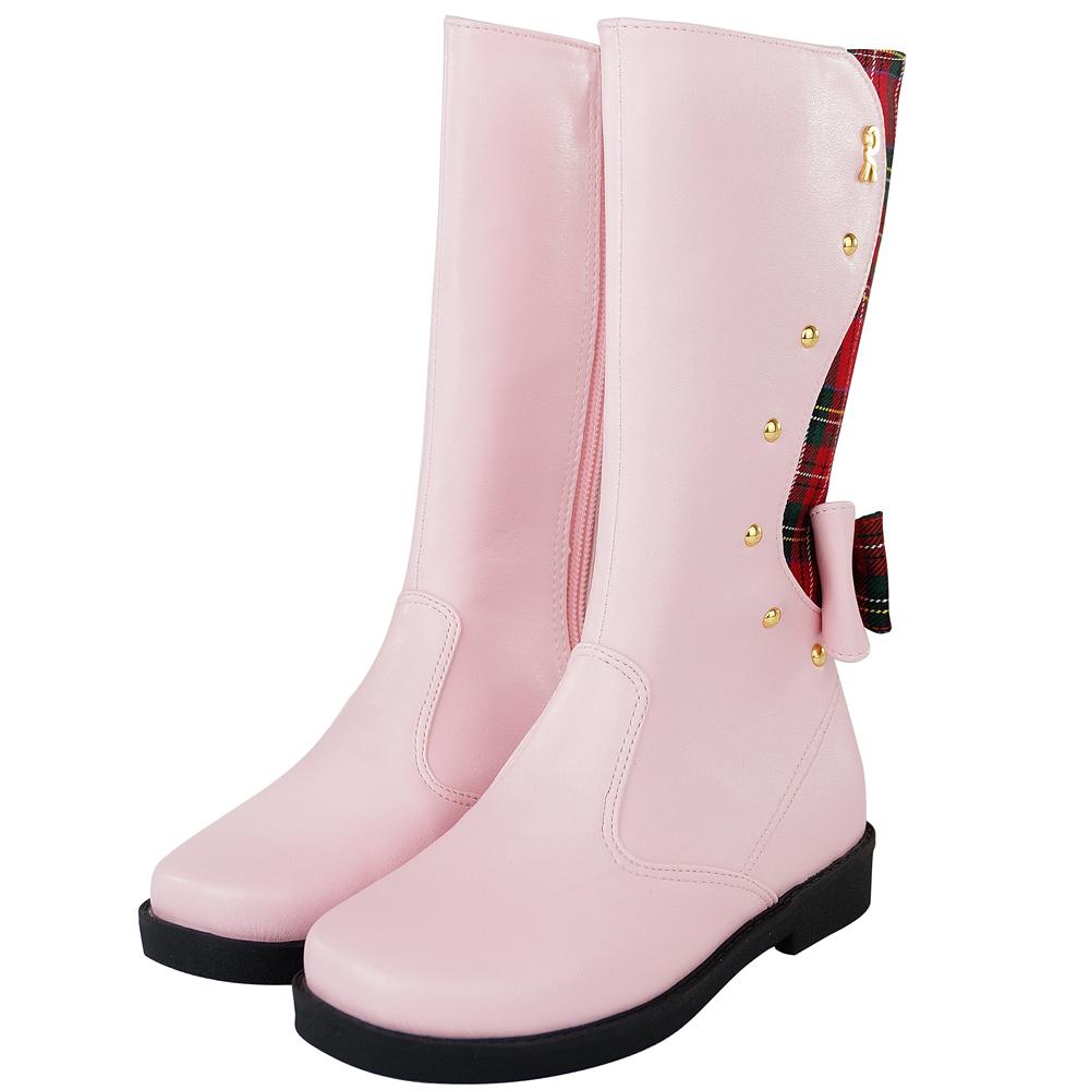 Roberta諾貝達 蘇格蘭格紋氣質舒適真皮高筒靴童鞋-粉