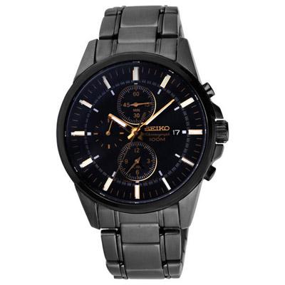SEIKO 風尚沉穩三眼計時都會腕錶(黑金)-42mm