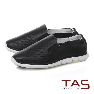TAS 透氣沖孔百搭休閒鞋-百搭黑