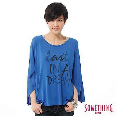 SOMETHING T恤  時尚斗篷垂墜造型T-女-藍色