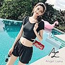 【AngelLuna日本泳裝】黑色質感交叉短袖兩件式泳衣