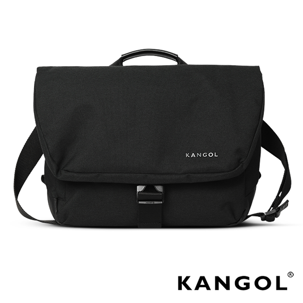 KANGOL韓國IT男爵系列手提/肩背兩用防盜郵差包(背帶可拆)-混織黑