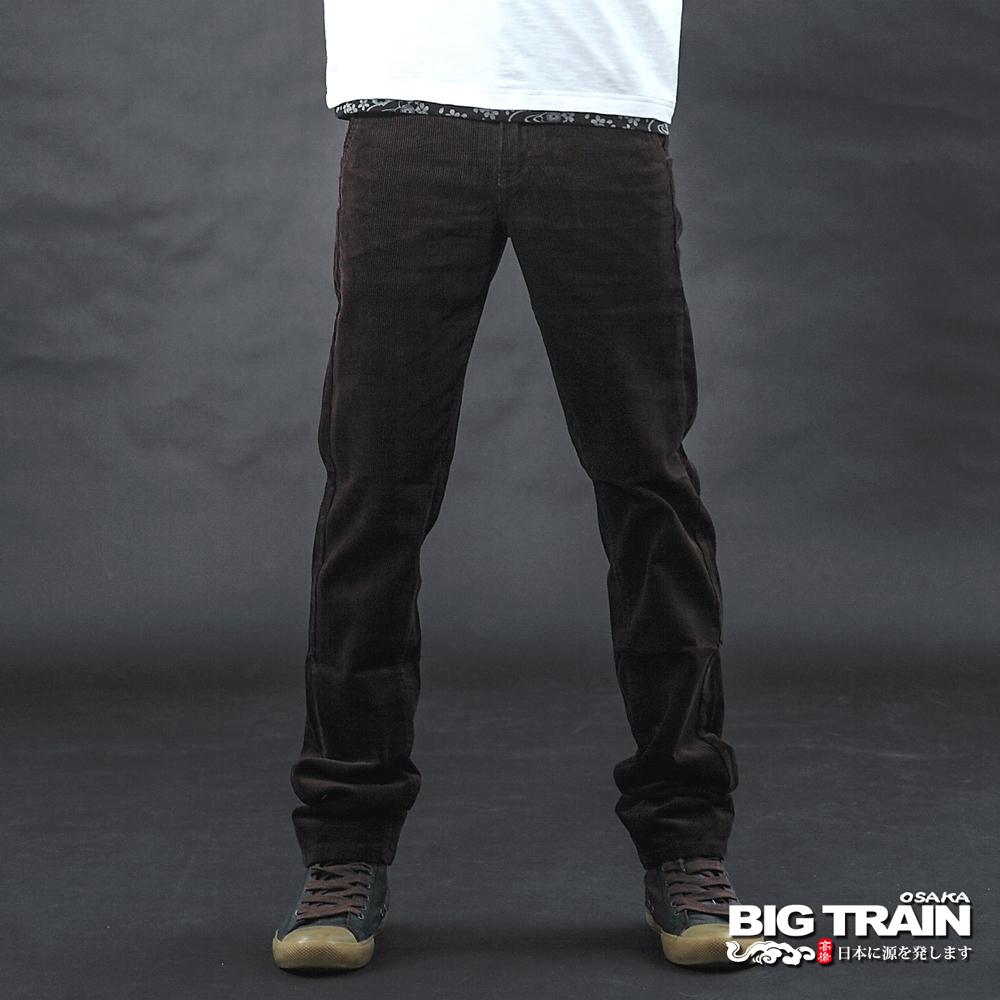 BIG TRAIN 咖啡色斜插袋絨布休閒褲-男-咖啡