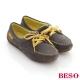 BESO亮麗學院-絨面牛皮雙色綁帶古典小花帆