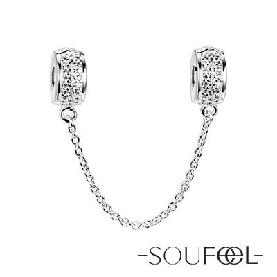 SOUFEEL索菲爾 925純銀珠飾 安全鏈 純白