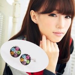 維克維娜 爛漫霓虹。繽紛小花彩鑽貼耳 925純銀耳環